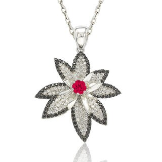 Suzy Levian Sterling Silver Cubic Zirconia Flower Pendant