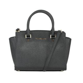 Michael Kors Selma Medium Black Satchel Handbag