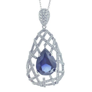 Suzy Levian Sterling Silver Blue Pear-Cut Cubic Zirconia Royal-Inspired Pendant