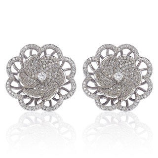 Suzy Levian Sterling Silver Cubic Zirconia Pave Flower Earrings