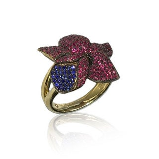 Suzy Levian Golden Sterling Silver Red & Blue Cubic Zirconia American Flower Ring