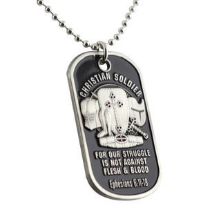 Christian Soldier Dog Tag Keychain Necklace