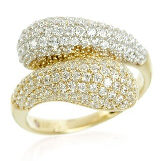 Suzy Levian Cubic Zirconia Two-Tone Sterling Silver Bypass Ring - Yellow