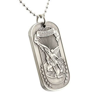 St. Michael Dog Tag Keychain Necklace