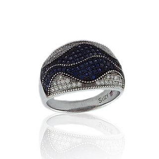 Suzy Levian Pave Cubic Zirconia Sterling Silver Blue Wave Ring