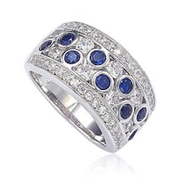 Suzy Levian Sapphire and Diamond in Sterling Silver and 18K Gold Ring