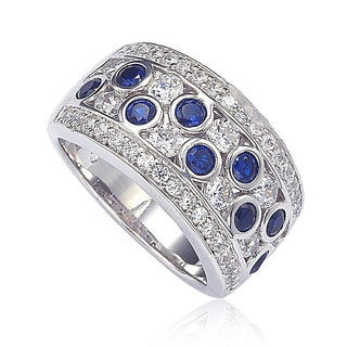 Suzy Levian Sapphire and Diamond in Sterling Silver and 18K Gold Ring (More options available)