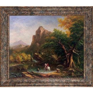 Thomas Cole 'The Mountain Ford, 1846' Hand Painted Framed Canvas Art