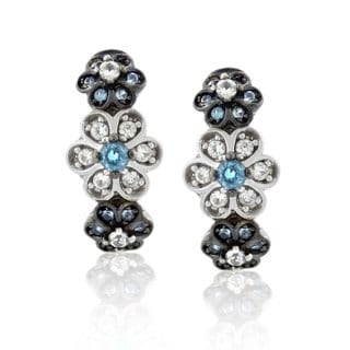Suzy Levian 18K Gold / Sterling Silver Cubic Zirconia and Diamond Earrings