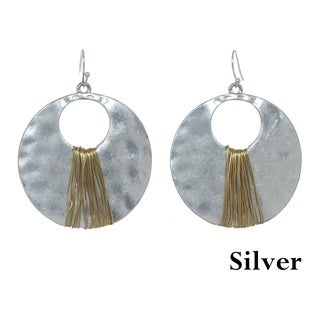 Alexa Starr Two-Tone Hammered Wire Drop Earrings