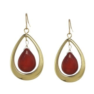 Alexa Starr Coral & Goldtone Teardrop Earrings