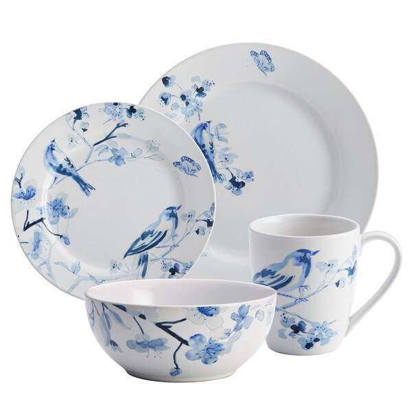 dinnerware indigo blossom piece stoneware set print sets for 8 ebay white dinner uk