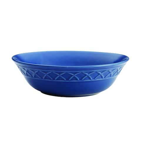 Paula Deen(r) Dinnerware Savannah Trellis 10-Inch Stoneware Round Serving Bowl, Cornflower Blue