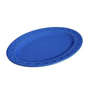 Paula Deen(r) Dinnerware Savannah Trellis 10-Inch x 14-Inch Stoneware Oval Serving Platter, Cornflower Blue
