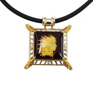 Micheal Valitutti Silver Carved Amber Men's Pendant