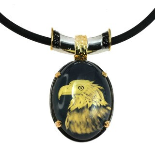 Micheal Valitutti Silver Carved Eagle Amber Men's Pendant with Black Spinel
