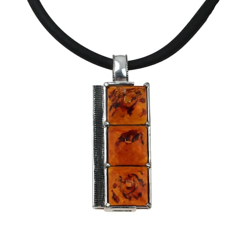 Micheal Valitutti Silver Special Cut Amber Men's Pendant