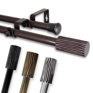 Elm Adjustable Black Double Curtain Rod