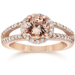 14k Rose Gold 1/ 2 ct. TDW Morganite & Diamond Split Shank Halo Fancy Engagement Ring (I-J, I2-I3)