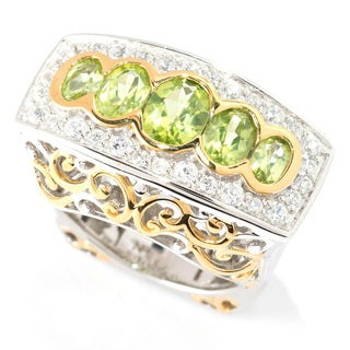 Michael Valitutti Palladium Silver Peridot and White Sapphire East-West Ring