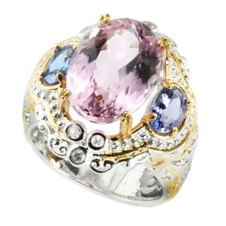 Michael Valitutti Two-tone Palladium Silver and Gold Kunzite, Tanzanite and Diamond Accent Ring