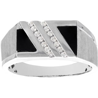 H Star 10k White Gold 2ct Onyx and 1/6ct TDW Diamond Accent Men's Ring (H-I, SI1-SI2)