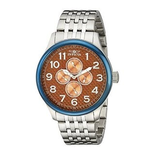 Invicta Men's Stainless Steel Large Japanese Quartz Day/ Date GMT Watch