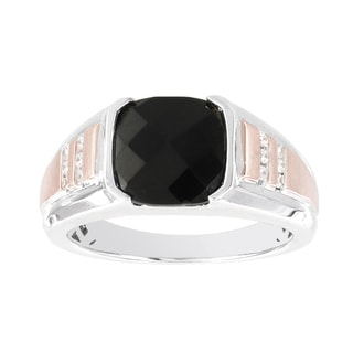 H Star 10Kt White and Rose Gold Black Onyx and Diamond Accent Men's Ring (I-J, I2-I3)