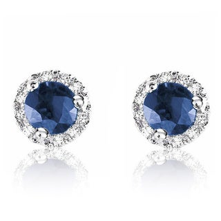 10k White Gold Round Sapphire Diamond Martini Earrings