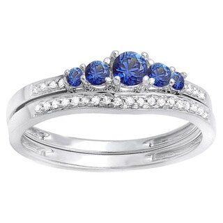 14k White Gold 1/2ct TDW Round Blue Sapphire and White Diamond 5 Stone Bridal Engagement Ring Matching Band Set