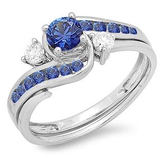 10k White Gold 7/8ct TDW Round Blue Sapphire and White Diamond Swirl Bridal Engagement Ring Matching Band Set