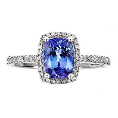 Anika and August 10k White Gold 1/6ct TDW Diamond and Cushion-cut Tanzanite Ring (G-H, I1-I2)