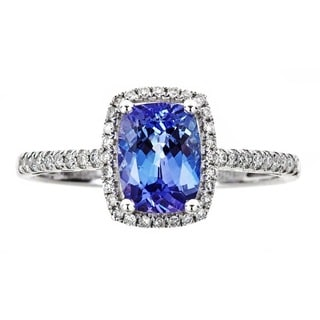 Anika and August 10k White Gold 1/6ct TDW Diamond and Cushion-cut Tanzanite Ring (G-H, I1-I2)