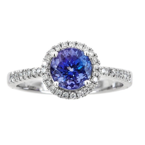 Diamond Jewelry & Watches Oval Blue Sapphire Round Diamond Solitaire Ring I1 H 0.30ct Prong Set Solid Gold