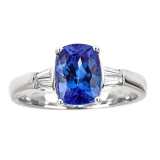 Anika and August 18k White Gold 1/6ct TDW Diamond and Cushion-cut Tanzanite Ring (G-H, I1-I2)