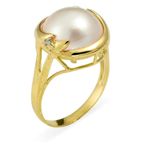 Kabella 14k Yellow Gold Mabe Pearl and Diamond Accent Ring (I, I3) (13mm)