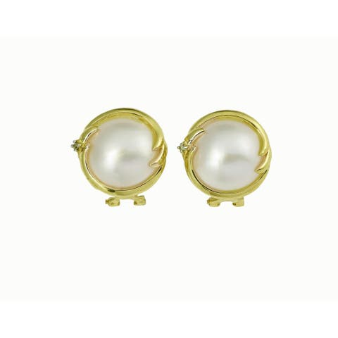 Kabella 14k Yellow Gold Mabe with Diamond Accent Pearl Earring