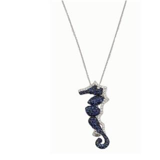 Kabella 18k White Gold Sapphire and 4/5ct TDW Diamond Seahorse Pendant