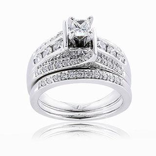Annello by Kobelli 14k Gold 1ct TDW Princess-cut Diamond Bridal Ring Set (H-I, I1-I2)