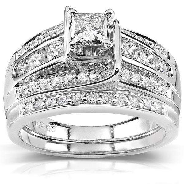 Annello by Kobelli 14k Gold 1ct TDW Princess-cut Diamond Bridal Ring Set (H-I, I1-I2)