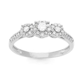 Gioelli 10k White Gold 2/5ct TDW Diamond Round-cut Pave Ring (H-I, I1-I2)