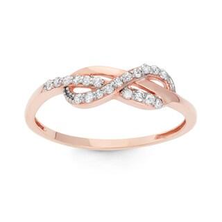 Gioelli 10k Rose Gold 1/5ct TDW Diamond Round-cut Pave Ring (H-I, I1-I2)