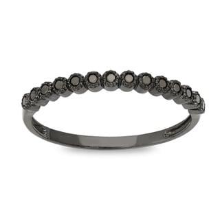 Gioelli 10k Gold 1/6ct TDW Black Diamond Stackable Eternity Ring (H-I, I1-I2)