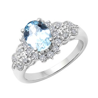 Sterling Silver Blue Topaz and White Topaz Ring