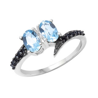 Sterling Silver Blue Topaz and Black Spinal Ring