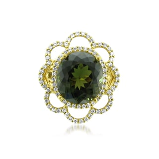 Montebello JEWELRY 18k Gold Green Tourmaline 1 1/6ct TDW Diamond Oval-cut Certified One-of-a-Kind Ring (H-I, VS2-SI1)