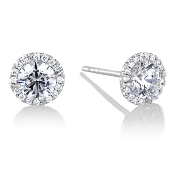 18k White Gold Diamond Halo And 5 Mm Cz Stud Earrings