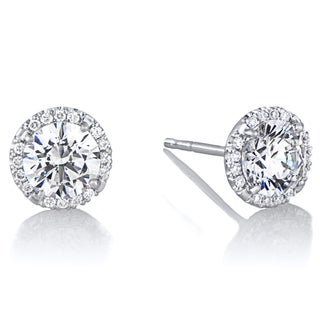 18K White Gold Diamond Halo And 6.5 mm CZ Stud Earrings