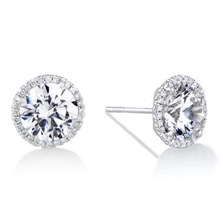 18K White Gold Diamond Halo And 8 mm CZ Stud Earrings