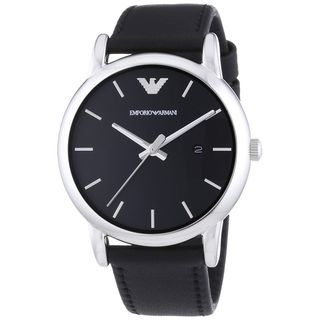 Emporio Armani Men's AR1692 'Classic' Black Leather Watch